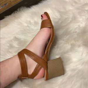 Brown chunk heel
